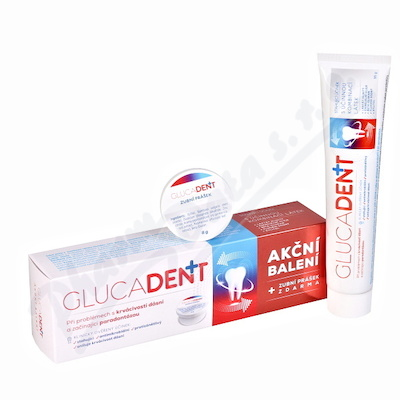 Glucadent+ zubní pasta 95g +zubní prášek Akční bal