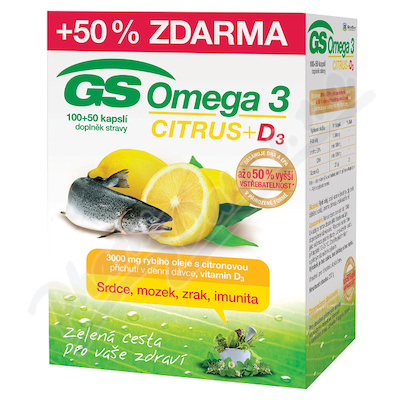 GS Omega 3 Citrus+D3 cps.100+50 ČR/SK