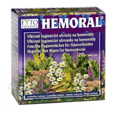 Hemoral vlhčené hyg. ubrousky na hemoroidy 20ks - intimní hygiena, ubrousky,intimní vlhčené ubrousky,ubrousky na intimní hygienu,