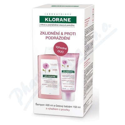 KLORANE Šampon pivoňka-citl.pok.400ml+Balz.150ml