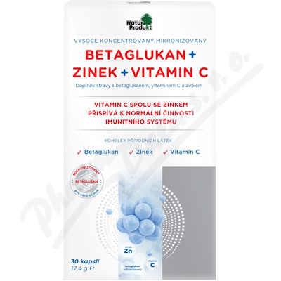 Naturprodukt betaglukan + zinek + vitamin C cps.30