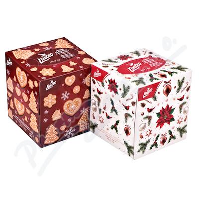 Papírové kapes. LINTEO vánoční 2-vrstvé bílé 80 ks